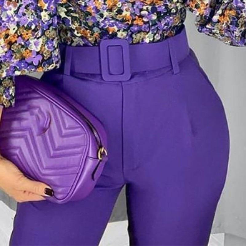 Women Elegant Purple Pants Sashes Pockets Zipper Solid Chic Trousers Ladies Pantalones