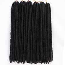 "Straight Goddess Locs Crochet Braids Natural Black Color 18""Inches Faux Locs Synthetic Hair 18 stands/Pack Heat Resistant Hair(China)"