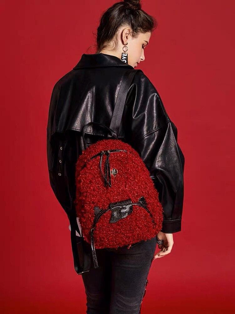 Рюкзак женский 2020 новый зимний женский кашемировый Рюкзак красный рюкзак Большая вместительная школьная сумка оригинальный дизайн Бесплатная доставка| |   | АлиЭкспресс