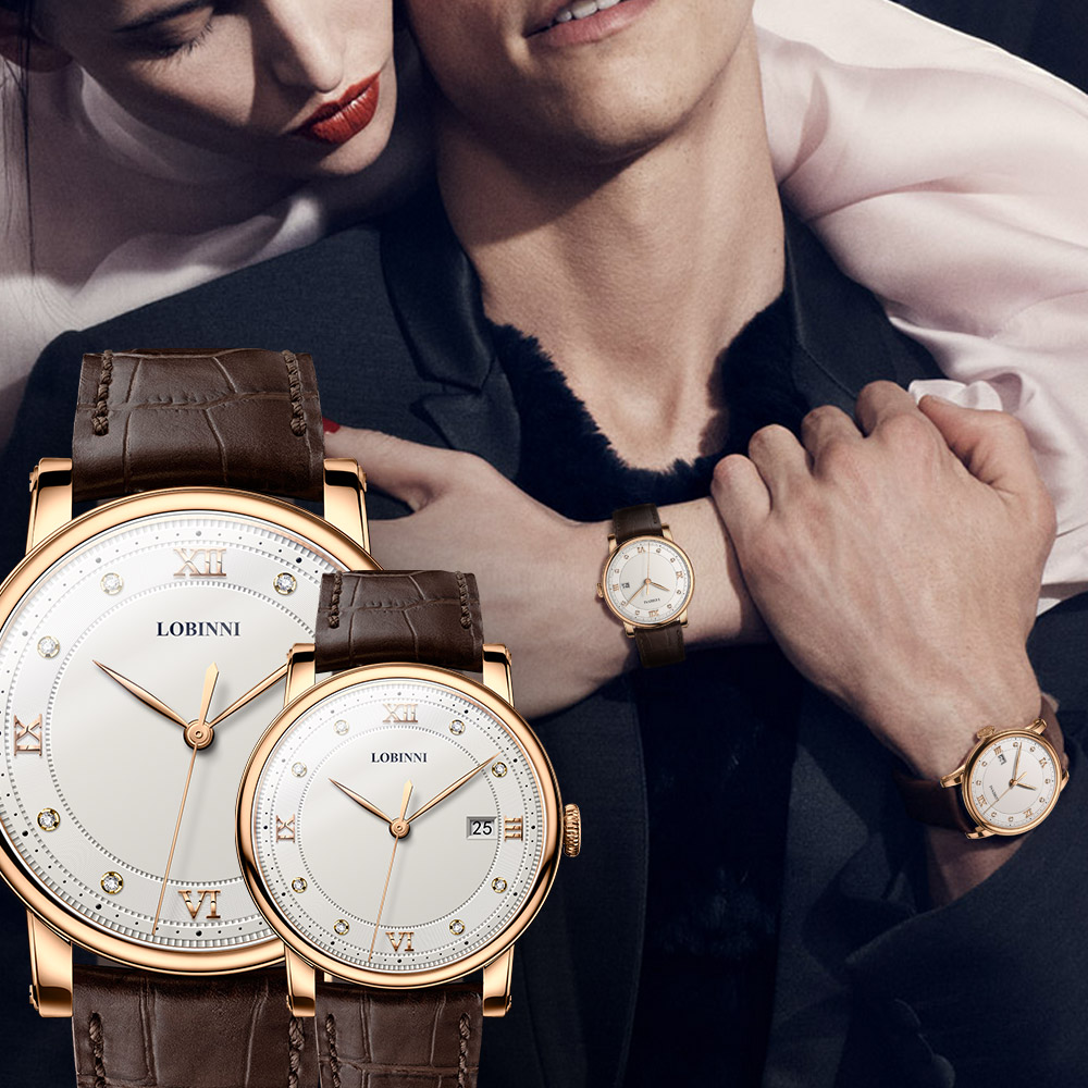 Switzerland Watch Luxury Brand Lovers Wristwatch Sapphire Vintage Quartz Watch Leather Montre Couple Watch Xmas Gift Men Women