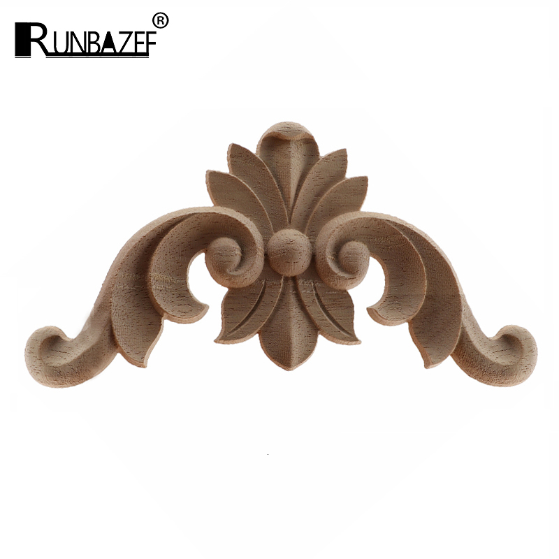 RUNBAZEF Wood Applique Onlay Wood Decal Modern Ornamental European Decoration Rose Crown Leaves Wooden Corner Home Figurines NEW