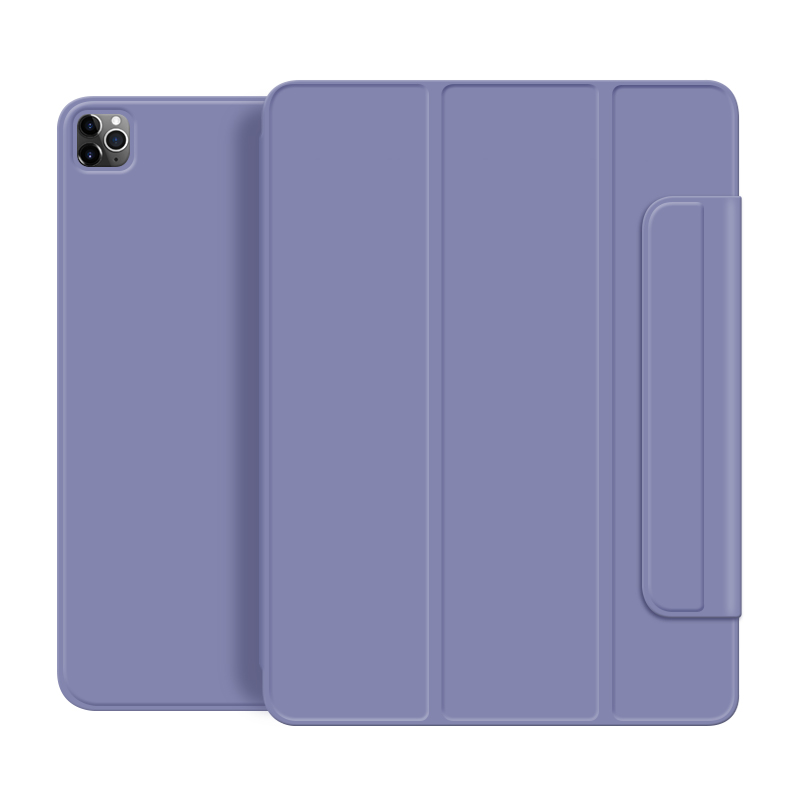 Lavender Purple For iPad Pro 2020 12 9 inch case Smart cover Tri fold magnet Back protector Buckle