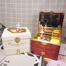 Xmas Classic Music Box Rotating Dancing Girls Piano Music Jewelry Box Clockwork Plastic Music Boxes Mechanical Birthday Gifts