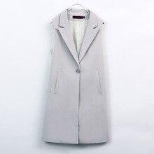 Blazer Vest Suits Coat Sleeveless Jacket Office Classic Female Long Plus-Size Women's