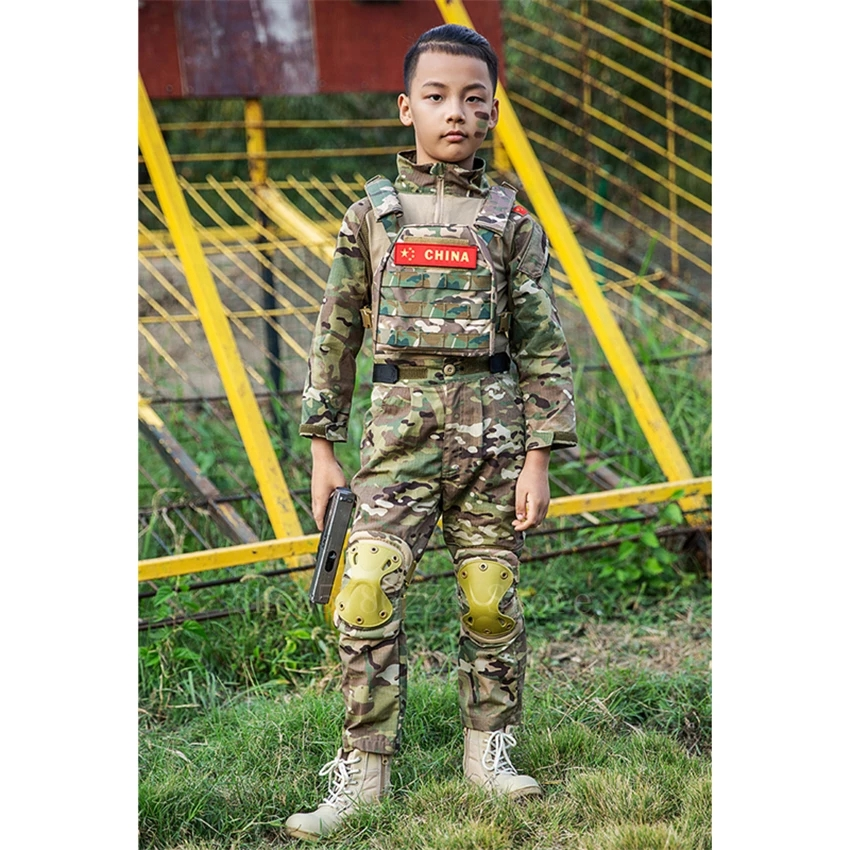 WW2 Teenager Boys Military Uniform Tactical Combat Jacket Pants Men Camouflage CP Jungle Print 2PCs Kids Special Force SWAT Army