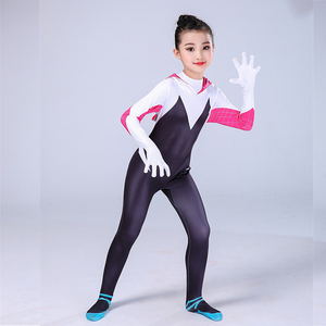 Image 4 - Gwen Stacy Costume Spider Gwen Cosplay Mask Zentai Suit Bodysuit Jumpsuit Spider Girl Halloween Costumes Girls Women