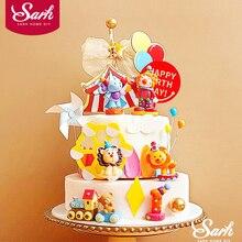 Lion Cake Toppers Baking-Supplies Straw-Bow Monkey Girl Birthday Elephant Circus Clown