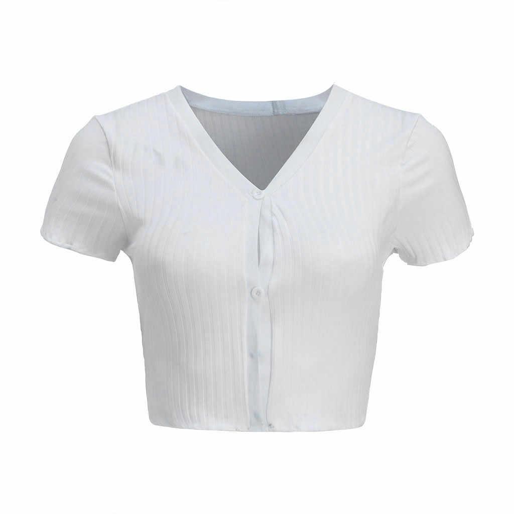 2020 여름 여성 슬림 티셔츠 화이트 늑골이있는 단추 짧은 소매 티셔츠 v 넥 섹시한 자르기 탑 Tshirt For Girls