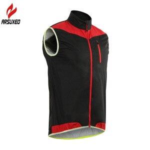 Image 4 - Arsuxeo男性女性サイクリングベスト防風防水ランニングベストmtbバイク自転車反射衣類ノースリーブサイクリングジャケット