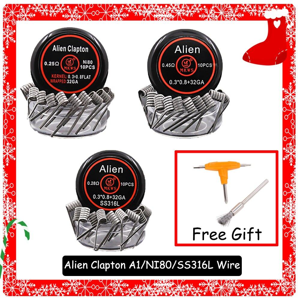 10Pcs MKWS Alien Clapton A1/ss316L/NI80 Replace Vape Coil Prebuilt Coils Wire For Wotofo DIY RDA RTA RDTA Tank Atomizer