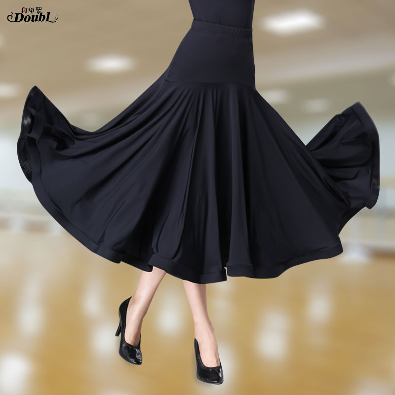 Doubl Elastic National Standard Ballroom Skirts New Modern Long  Waltz Skirt Show Expansion Black Very Full Ice Silk Fabrics