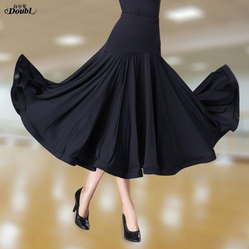 Double élastique National Standard jupes de salle de bal nouveau moderne longue valse jupe spectacle Expansion noir très complet glace soie tissus