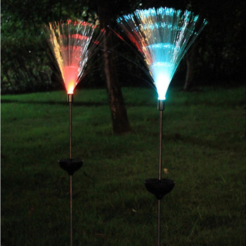 2pcs lampada luz solar fiber optic lights RGB LED Outdoor Garden decoration Yard Lawn Trapping Lamp Lantern Party decor