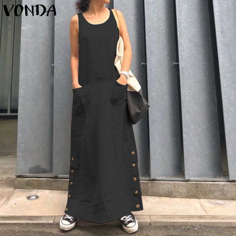 VONDA Sexy Solide Maxi Kleid Club O Neck Sleeveless Lange Kleider Frauen Party Robe Femme Casual Lose Sommerkleid 2020 Böhmischen 5XL