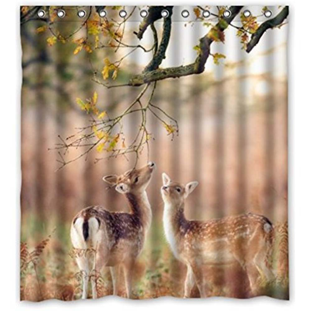 Deer Shower Curtain Rustic Wildlife Forest Buck Doe Hunter Cabin Bathroom New