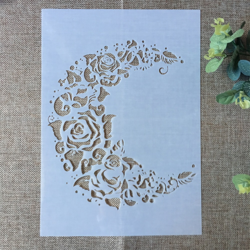 Купить с кэшбэком 29*21cm New Moon Rose Flower DIY Layering Stencils Painting Scrapbook Coloring Embossing Album Decorative Paper Card Template