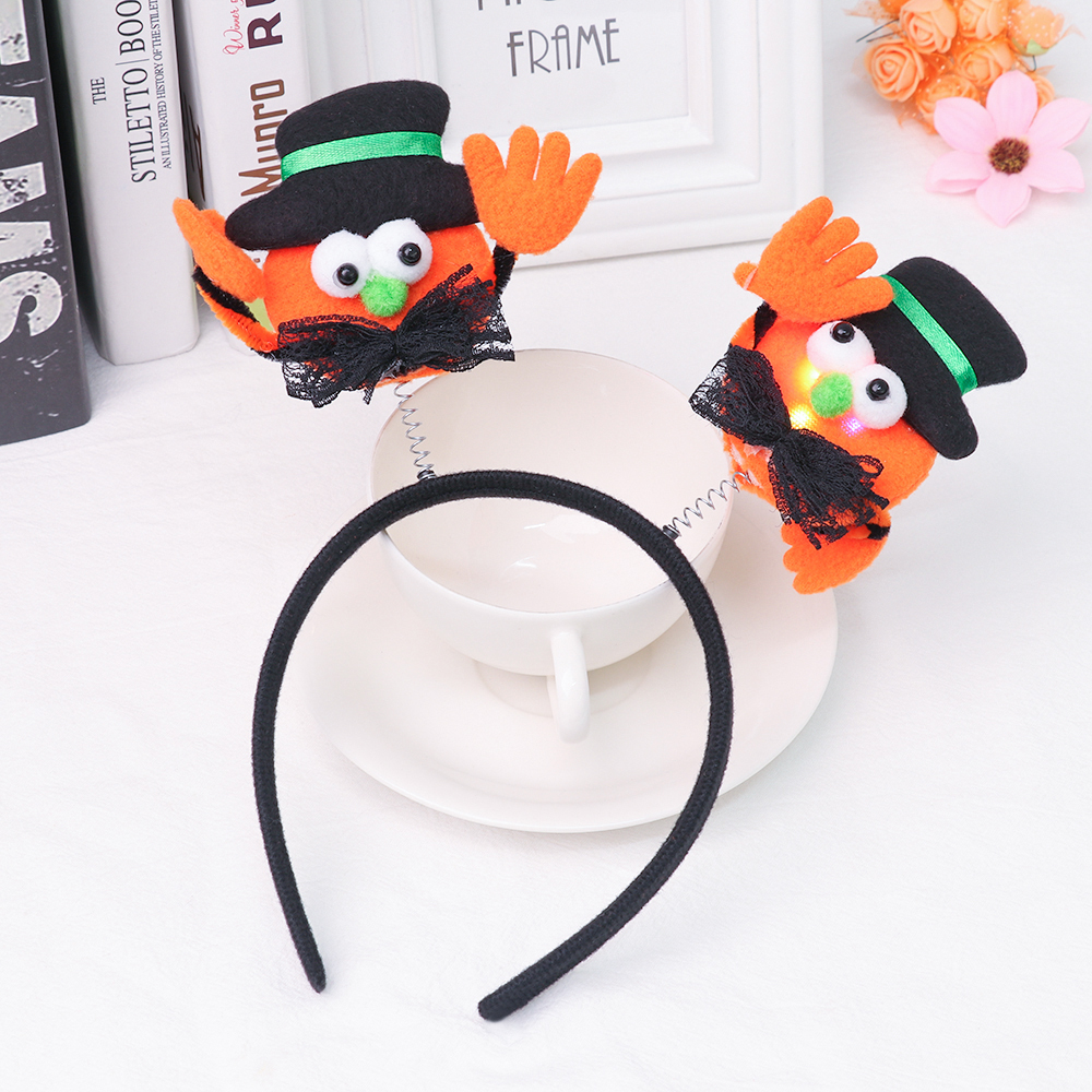 Halloween Headband Cosplay Hair-Hoop Decorative New Bat with Lamp 1pcs Hat Pumpkin Funny