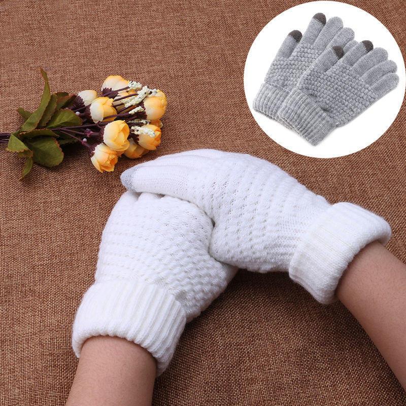 New Women Men Warm Winter Knitted Full Finger Gloves Mittens Girl Female Solid Woolen Gloves Screen Winter Accessories Unisex