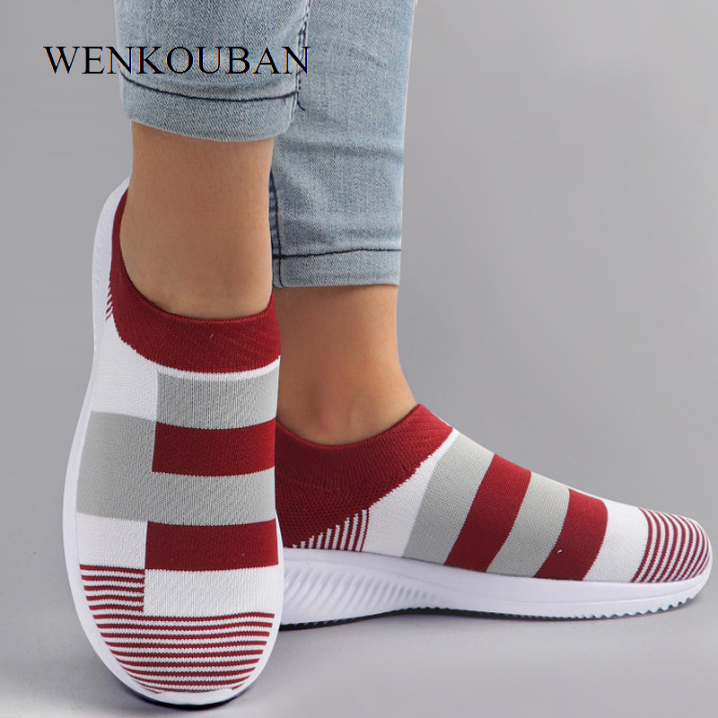 Summer Shoes Women Sneakers Casual Vulcanized Shoes Female Sock Sneakers Women Knitted Flat Shoes Ladies Slip On Loafers 2020