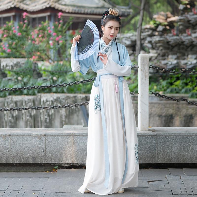 Hanfu Women Embroidery Dance Costumes Ladies Fairy Dress Folk Festival Rave Outfit Singers Performance Clothing 3 Pcs DC3397