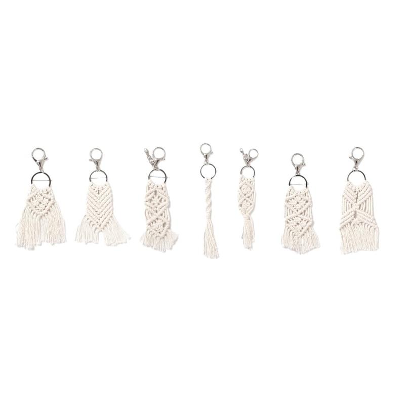 7 Pieces Mini Macrame Keychains Macrame Bag Charms for Car Key Purse Phone Supplies