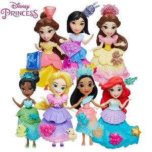 Image 1 - Disney Princess Belle Mulan Tiana  Merida Jasmine Rapunzel Ariel Pocahontas Cinderella Dolls Action Figure Model Toys for Girls
