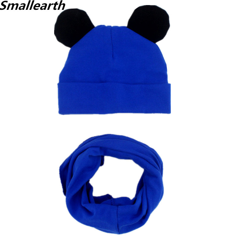 New Autumn Winter Children Hat Scarf Set Baby Cute Ears Caps Beanies Boys Girl Cotton Cap Scarf Sets Kid Hats Collar Photo Props