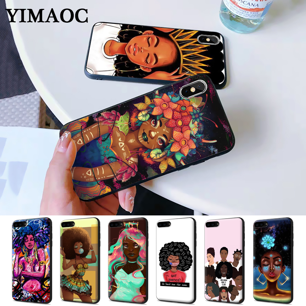 MELANIN POPPIN Black Girl Silicone Case for iPhone 5 5S 6 6S Plus 7 8 X XS Max XR