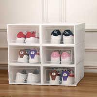 6PCS/Set Stackable Storage Box Shoe Thickened Flip Shoes Transparent Drawer Case Plastic Shoe Boxes Storage Organizer J05