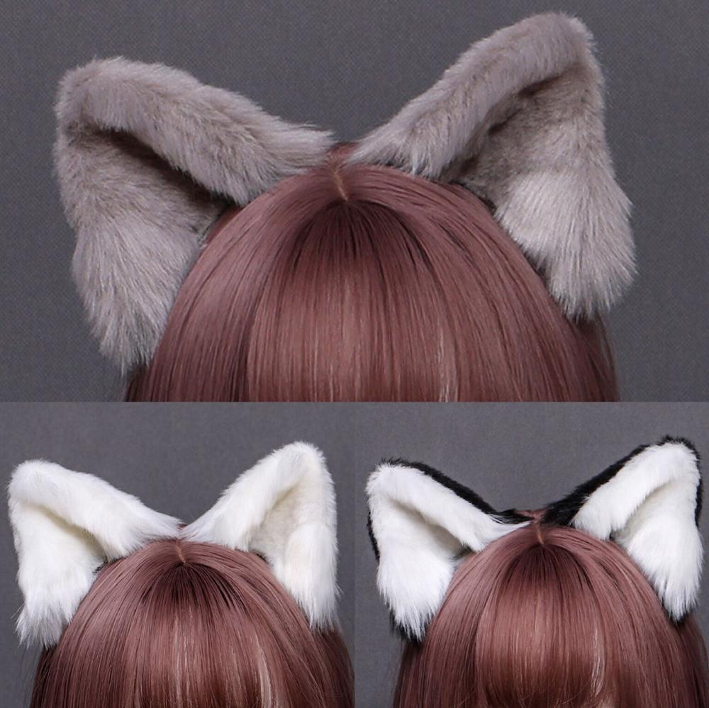 Handmade Cute Furry Animal Beast Ear Hairpin Headwear Cosplay Soft Girl Kawaii Plush Cat Ear Japanese Lolita Hair Accessory Prop