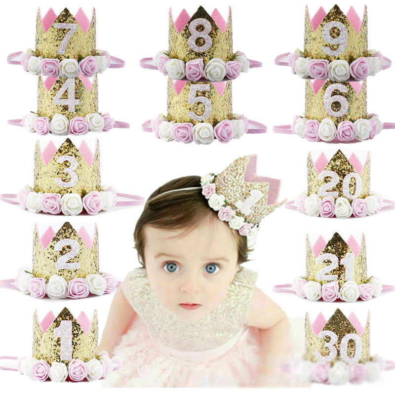 1st 2nd Year Old Baby Girls Birthday Hats Decor Cap One First Birthday Hat Princess Crown Number Birthday Party Decorations Toys