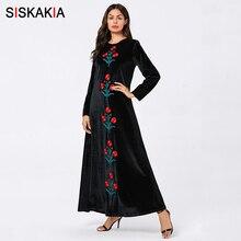 Siskakia Muslim Long Dress Velvet Casual Floral Embroidered