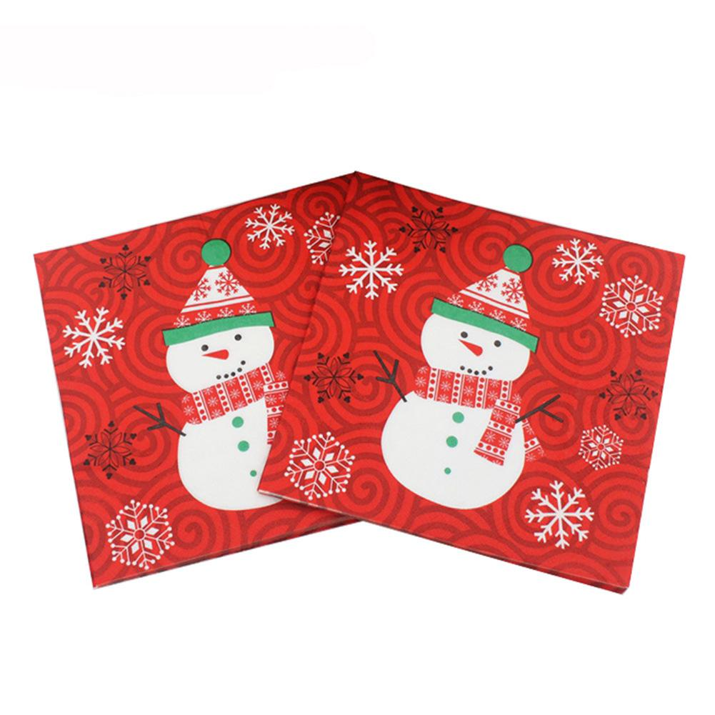 20Pcs 33cm Napkin Square Christmas Paper Handkerchief Home Xmas Table Decoration Durable  Portable  Xmas Snowman DesignChristmas