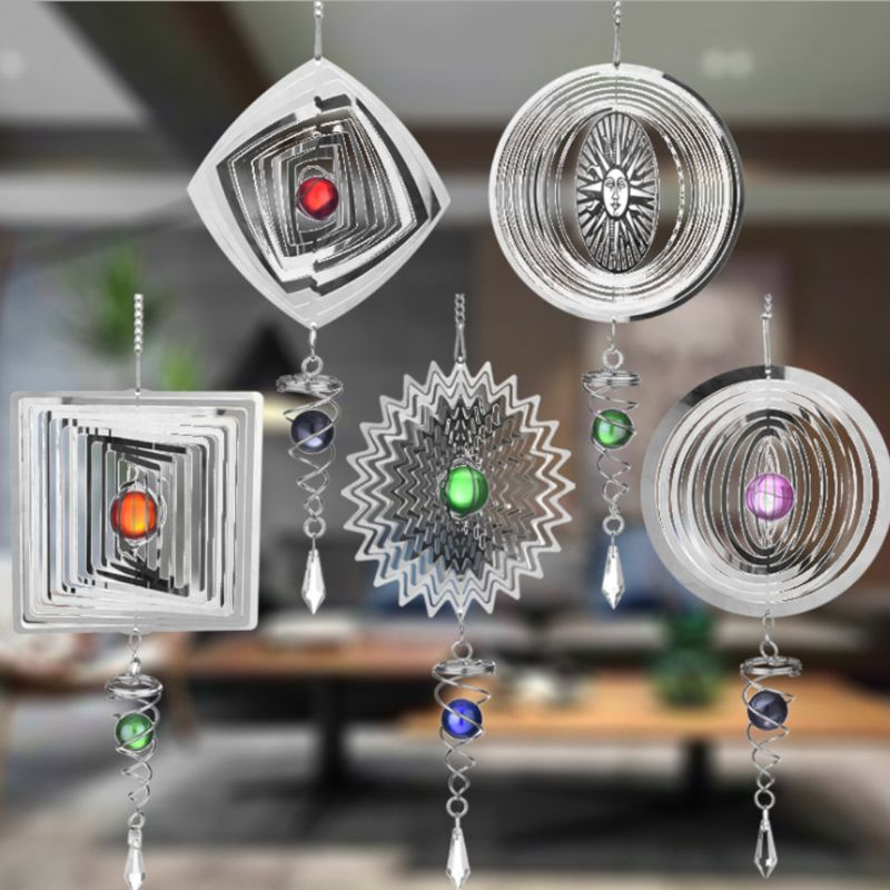 Silent Stereo Rotating Wind Chime Spinner Motor Wall Hanging Ornaments Home Decoration Stainless Steel Mirror Hollow Cool Gifts
