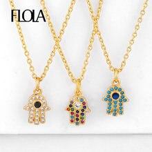 FLOLA CZ oro mano de Fatima collares para mujeres con cristal collares de Hamsa joyería del arco iris mano de Fátima colgant nkeq31