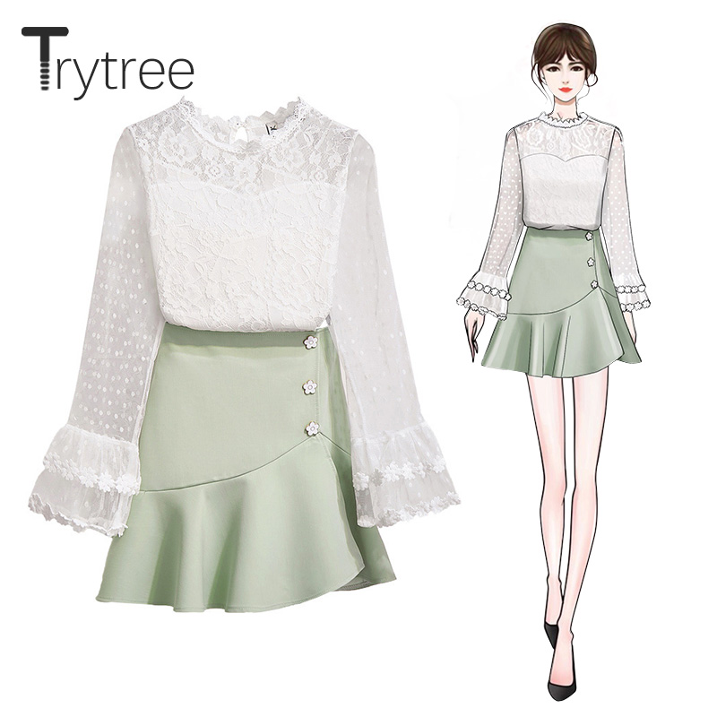 Trytree Autumn Women Two Piece Set Casual Lace Flare Sleeve O-Neck Top + Skirt Culottes Flower Buttons Mini Suit 2 Piece Set