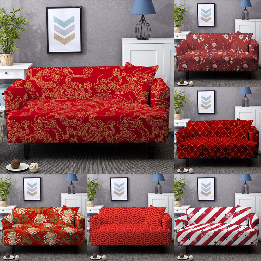 Non-slip Spandex Stretch Sofa Cover Luxury Red Slipcovers Suitable For Living Room Sofa Cover Furniture Cover Latest