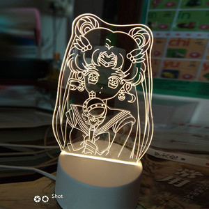 Ночник в стиле аниме Сейлор Мун 3d, Креативный светодиодный прикроватный светильник для спальни, украшение для стола для девушек, Ночной светильник с изменением цвета в подарок