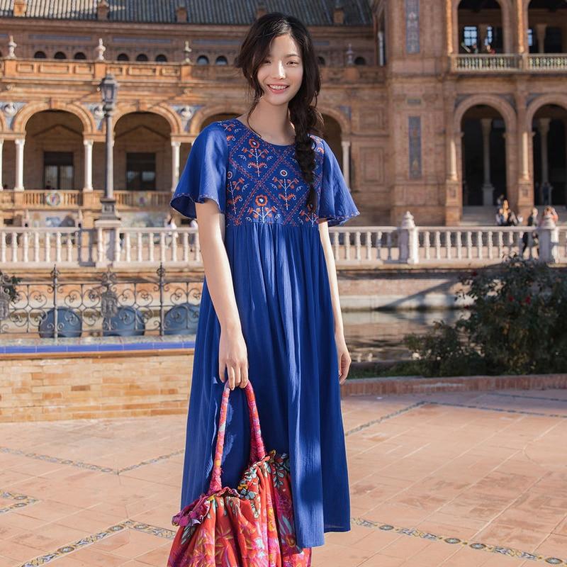 Image 3 - INMAN  Summer Dresses Round Neck Retro Ethnic Embroidery Lady Dresses A Line Cotton Loose High Waist Women DressDresses   -