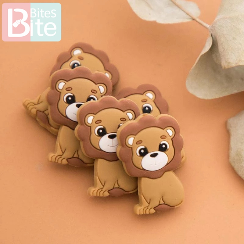 10PC Silicone Teether Beads Lion Baby Toy DIY Pacifier Chain Necklaces Pendant Bite Chew Bite Chew Rodent For Teething Kids Toys