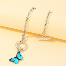 European Jewelry Ins Sweet Butterfly Bracelet Womens Simple White Gold Thick Chain Multicolor Butterfly Bracelets For Girls jewelry bracelet exclaim for womens 033s2387b jewellery womens bracelets accessories bijouterie