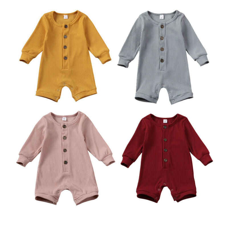 Newborn Baby Boy Girl Solid Romper Jumpsuit Autumn Infant Toddler Kids Outfit Clothes Sunsuit