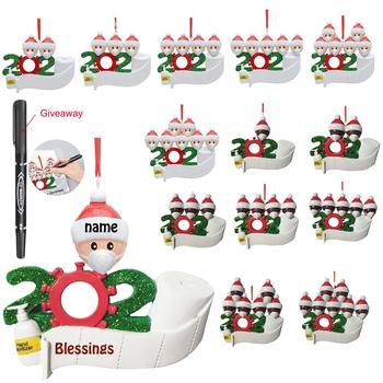 2020 Personalized Family Christmas Ornament kit DIY Name Blessing Christmas Tree Hanging Pendant Creative Gift for Family image