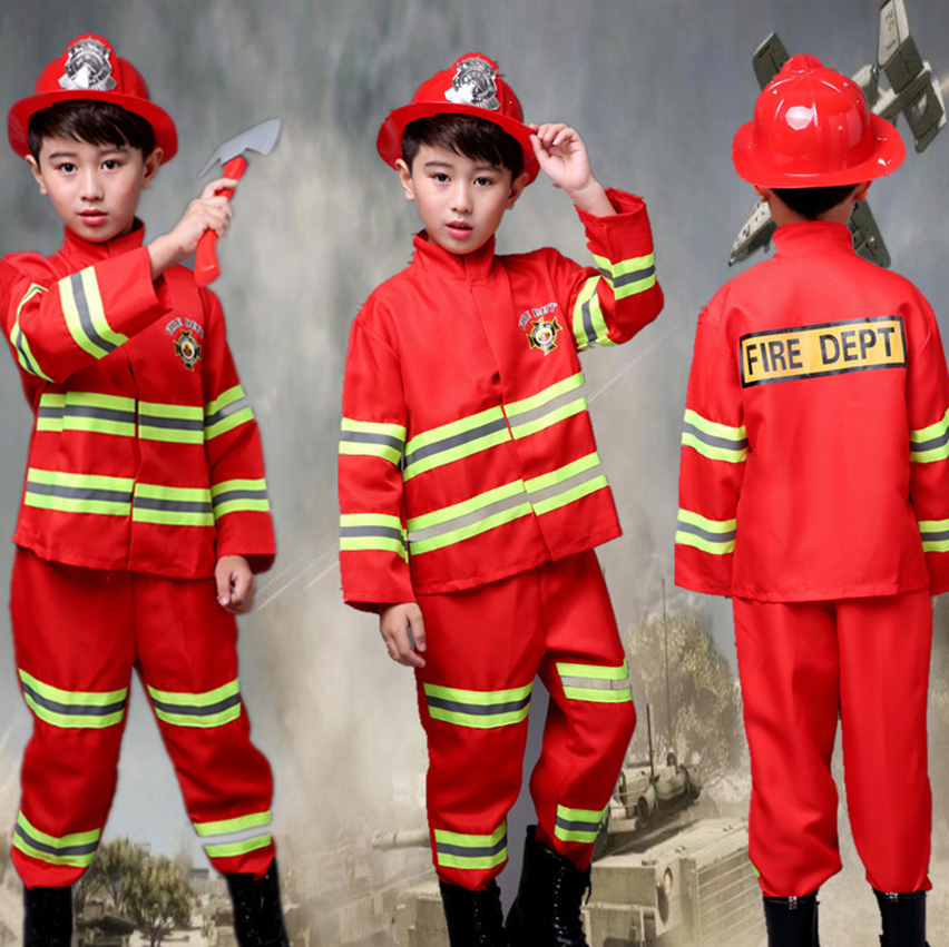 Children's Day Roleplay Fireman Drill Fancy Boy Clothes Baby Girl Jacket Helmet Performance Clothing Halloween Costumes For Kids