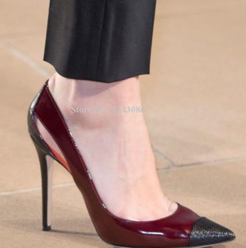 New Snakeskin Leather Stiletto Heel Pumps Shoes Women Sexy Pointed Toe Cut-out Wine Red Single Shoes Lady Popular Banquet Shoes