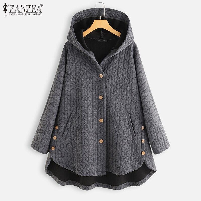ZANZEA, женские винтажные толстовки, пальто, зима, длинный рукав, на пуговицах, одноцветные куртки, осень, толстовка с капюшоном, пальто, женская...