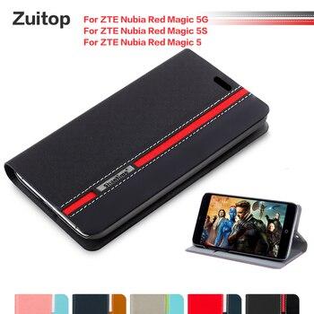 Перейти на Алиэкспресс и купить Чехол для телефона из искусственной кожи для ZTE Nubia Red Magic 5G флип-кейс для ZTE Nubia Red Magic 5S Nubia Red Magic 5 силиконовый чехол для задней панели