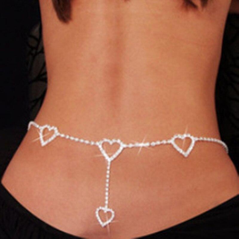 Женская мода Кристалл Сердце к сердцу ремни Сладкая кисточка сердце Талия цепь милый клуб живота цепь ювелирные изделия аксессуары