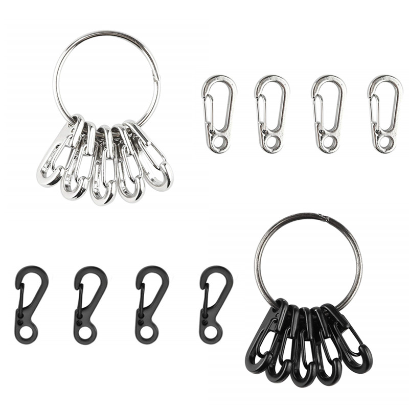 12PCS Mini SF Alloy Carabiners Clips Tiny Spring Snap Hook Carabiners For Backpack Camping Bottle Using Keychains Accessories