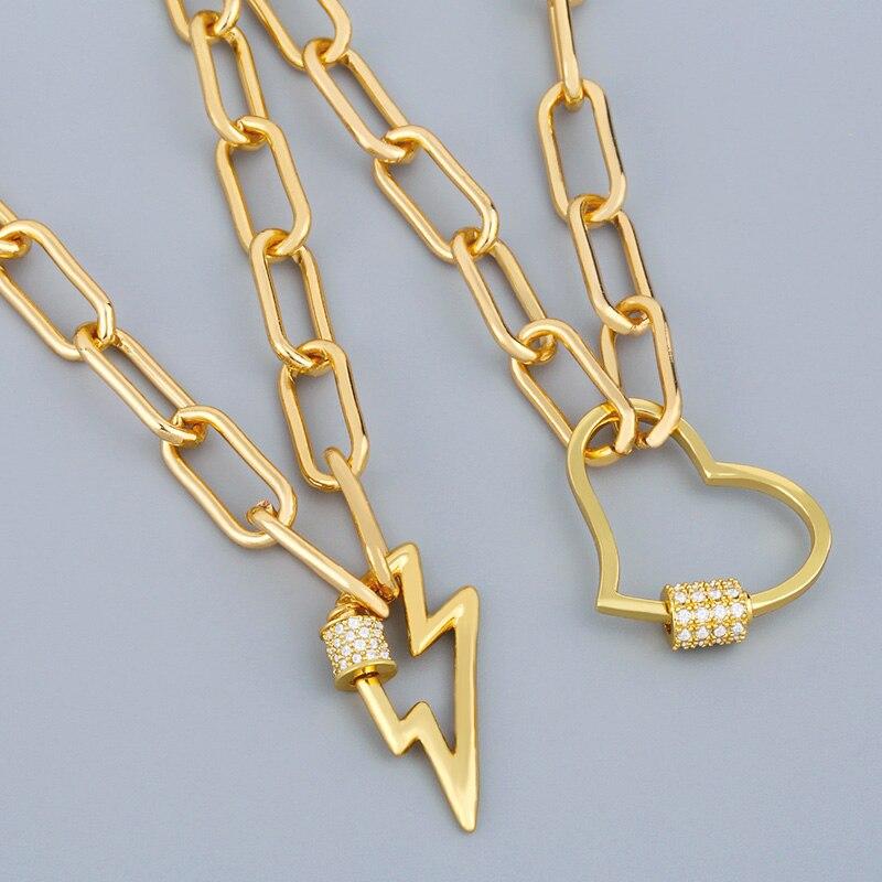 FLOLA Gold Heart Necklace For Women Carabiner Lock Lightning Bolt Pendant Necklace Zirconia Copper Punk Statement Jewelry nker30